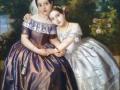 Retrato de Ignacia y Lorenza Martínez Negrete de Alba, mediados del siglo XIX, Pelegrín Clavé, óleo sobre tela, Fundación Cultural Daniel Lichtenstein A. C.