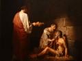 La caridad de los primeros tiempos de la Iglesia, 1883, José María Ibarrán y Ponce, óleo sobre tela, Museo Nacional de Arte.